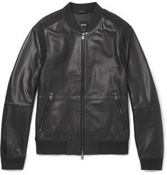 Hugo Boss Minop Suede-Trimmed Full-Grain Leather Bomber Jacket