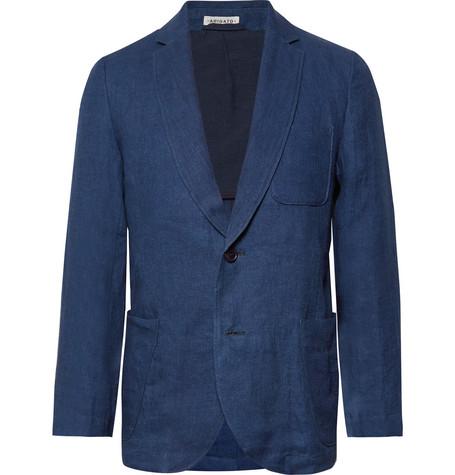 BLUE BLUE JAPAN Slim-Fit Unstructured Indigo-Dyed Linen-Twill Blazer