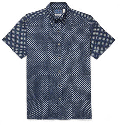 Blue Blue Japan Slim-Fit Button-Down Collar Indigo-Dyed Printed Cotton-Gauze Shirt