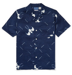Blue Blue Japan - Slim-Fit Camp-Collar Printed Cotton-Gauze Shirt