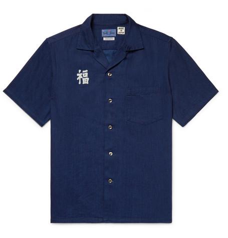 BLUE BLUE JAPAN Camp-Collar Indigo-Dyed Printed Cotton Shirt