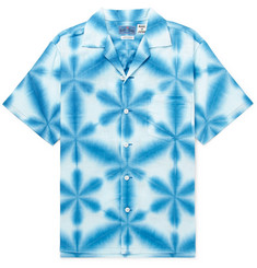 Blue Blue Japan Camp-Collar Tie-Dyed Cotton-Canvas Shirt