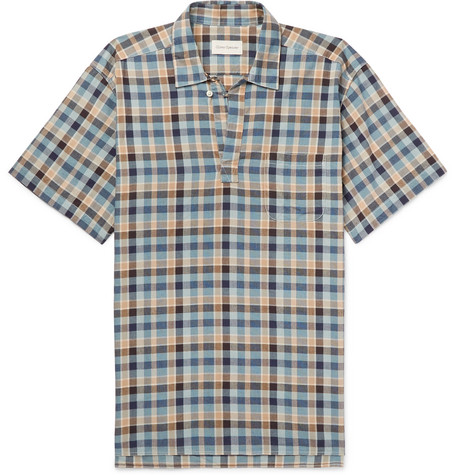 Oliver Spencer - Yarmouth Checked Cotton Half-Placket Shirt - Blue