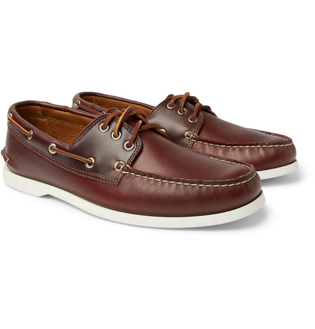 QUODDY Downeast Leather Boat Shoes in Dark Brown