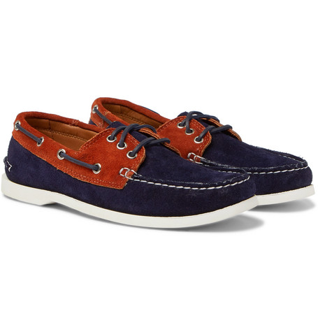 QUODDY Downeast Two-Tone Suede Boat Shoes in Navy