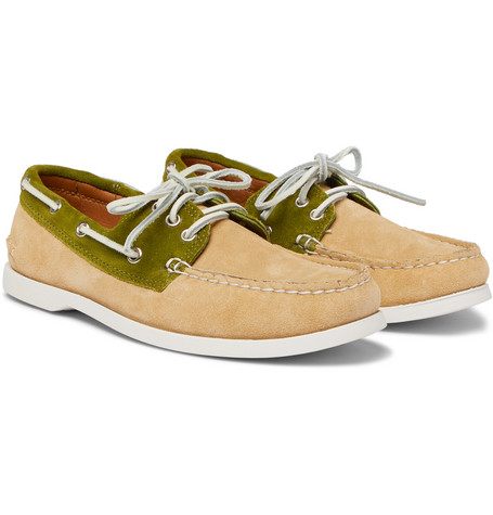 QUODDY Downeast Two-Tone Suede Boat Shoes in Sand