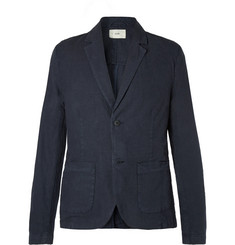 Folk Navy Unstructured Garment-Dyed Linen and Cotton-Blend Blazer