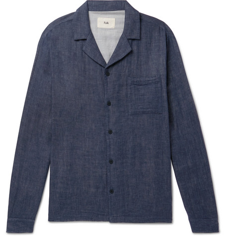 Camp Collar Double Faced Cotton Over Shirt by Folk