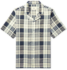 Folk Camp-Collar Checked Slub Cotton Shirt