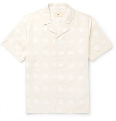 Folk Camp-Collar Polka-Dot Cotton and Linen-Blend Shirt