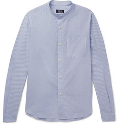 A.P.C. Robinson Grandad-Collar Striped Cotton-Seersucker Shirt