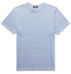 A.P.C. Striped Slub Stretch Linen and Cotton-Blend T-Shirt