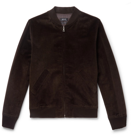 Barett Cotton And Linen Blend Velvet Bomber Jacket by A.P.C.