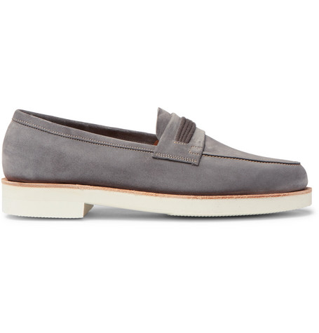 4a5aa59af54 John Lobb Tore Suede Penny Loafers In Gray