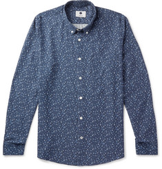 NN07 Falk Button-Down Collar Printed Tencel Shirt