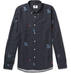 NN07 Falk Slim-Fit Button-Down Collar Printed Tencel Shirt