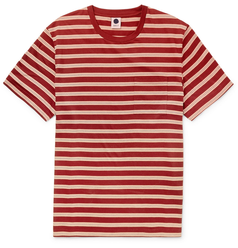 Bild på Badan Striped Cotton-jersey T-shirt - Red