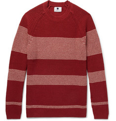 NN07 Slim-Fit Striped Silk and Cotton-Blend Sweater