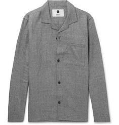NN07 - Jannic 1299 Camp-Collar Wool and Linen-Blend Overshirt