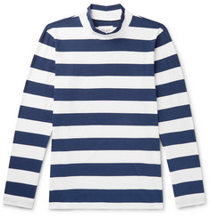 Albam Striped Cotton-Jersey Mock-Neck T-Shirt