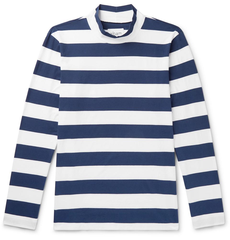 Striped Cotton-jersey Mock-neck T-shirt - Navy