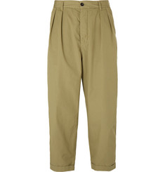 Albam Wide-Leg Pleated Washed Cotton-Poplin Trousers