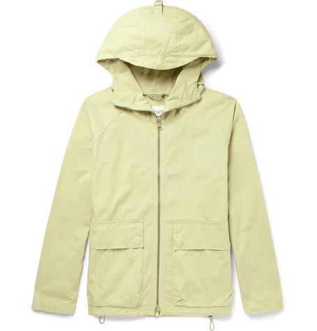 ALBAM Garment-Dyed Cotton-Twill Hooded Parka - Light Green