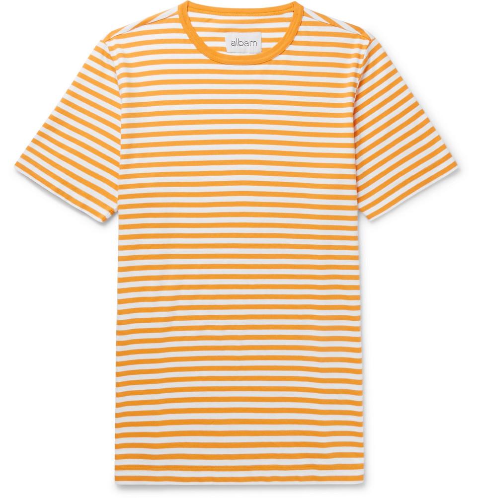 Striped Cotton-jersey T-shirt - Yellow