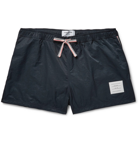 Thom Browne Short-length Stripe-trimmed Shell Swim Shorts - Midnight blue