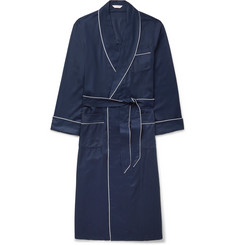 Derek Rose Lombard Piped Cotton-Jacquard Robe