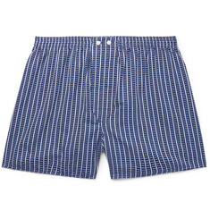 Derek Rose Royal 211 Striped Cotton Boxer Shorts