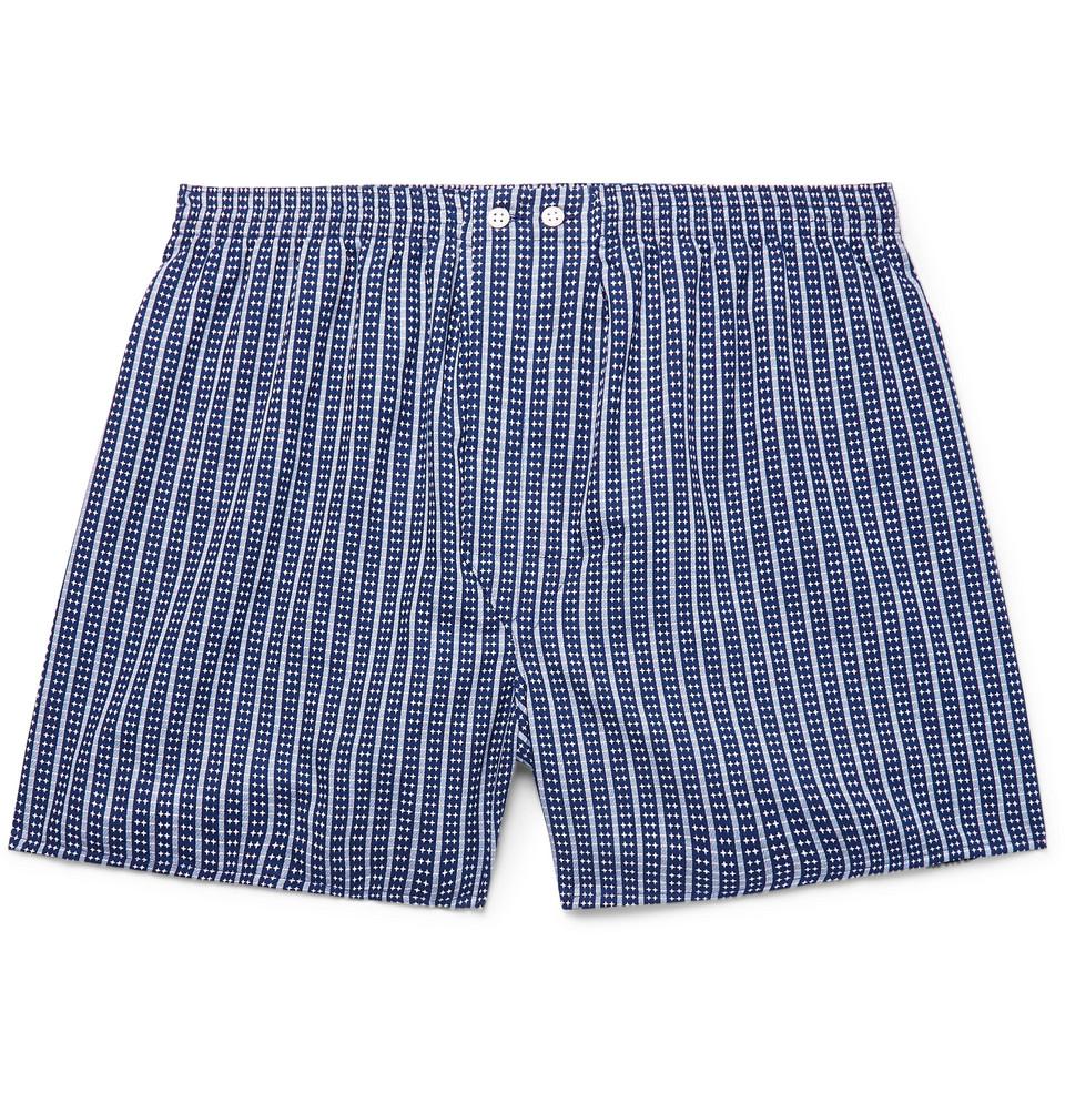 Royal 211 Striped Cotton Boxer Shorts - Storm blue