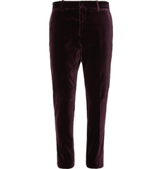 Berluti Plum Slim-Fit Stretch-Cotton Velvet Suit Trousers