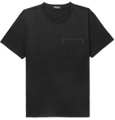 Berluti Leather-Trimmed Cotton-Jersey T-Shirt