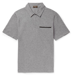 Berluti - Leather-Trimmed Cotton, Wool and Cashmere-Blend Piqué Polo Shirt