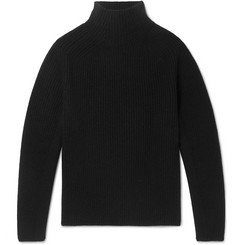 Berluti Ribbed Cashmere and Mohair-Blend Mock-Neck Sweater