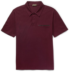 Berluti Leather-Trimmed Cotton, Wool and Cashmere-Blend Piqué Polo Shirt