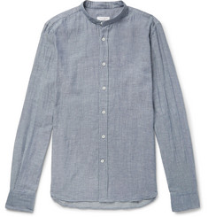 Incotex Jared Slim-Fit Grandad-Collar Cotton-Chambray Shirt