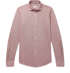 Incotex Ween Slim-Fit Cutaway-Collar Mélange Cotton-Piqué Shirt