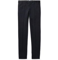 Incotex Slim-Fit Pleated Brushed Stretch-Cotton Trousers