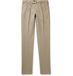 Incotex Pleated Brushed Stretch-Cotton Trousers