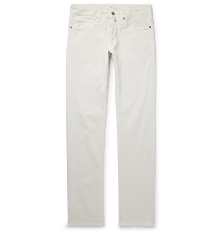 Slim Fit Stretch Cotton Corduroy Trousers by Incotex