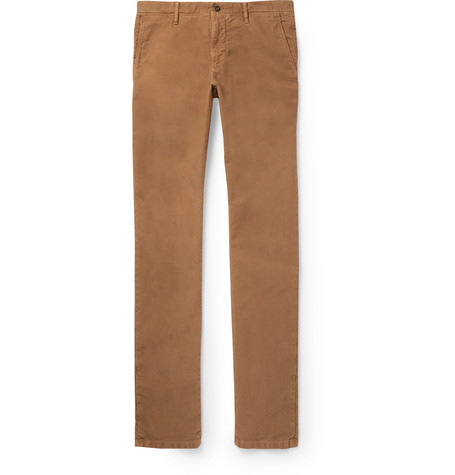 Slim Fit Stretch Cotton Twill Trousers by Incotex