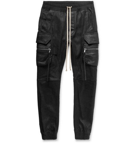 Slim Fit Tapered Stretch Leather And Cotton Blend Drawstring Cargo Trousers by Rick Owens