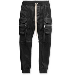 Rick Owens - Slim-Fit Tapered Stretch Leather and Cotton-Blend Cargo Trousers