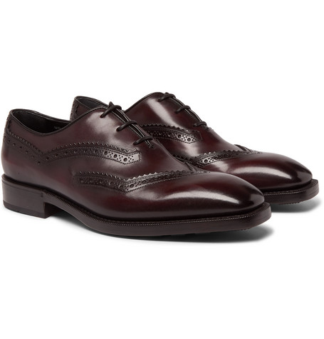 Berluti Venezia Leather Oxford Shoes In Burgundy