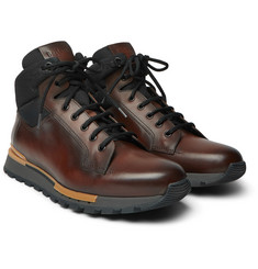 Berluti - Fast Track Leather and Jacquard-Shell Hiking Boots