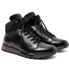 Berluti - Fast Track Shearling-Lined Leather and Jacquard-Shell Hiking Boots