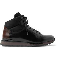 Berluti Fast Track Shearling-Lined Leather and Jacquard-Shell Hiking Boots