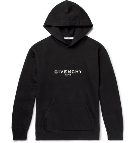 GIVENCHY Men'S Destroyed Logo Loopback Hoodie Sweatshirt, Black